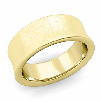 Contour Wedding Band in 18k Gold Brushed Comfort Fit Ring, 8mm