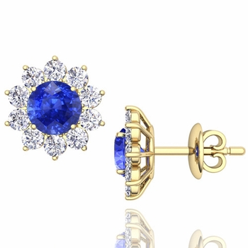 Ceylon Sapphire and Diamond Halo Earrings in 18k Gold Studs, 5mm