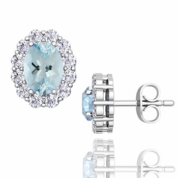 Oval Aquamarine and Halo Diamond Earrings in 14k Gold, 7x5mm Studs