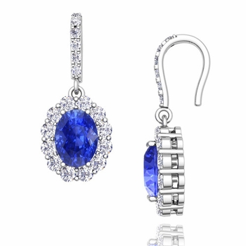 Halo Diamond and Ceylon Sapphire Drop Earrings in 14k Gold, 7x5mm