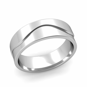 Wave Wedding Band in Platinum Comfort Fit Ring, Polished Finish, 7mm