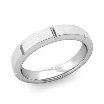 Swiss Cut Wedding Band in Platinum Brushed Finish Ring, 4mm