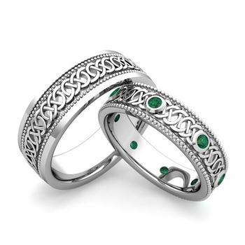 Matching Celtic Wedding Bands in 14k Gold Milgrain Emerald Ring