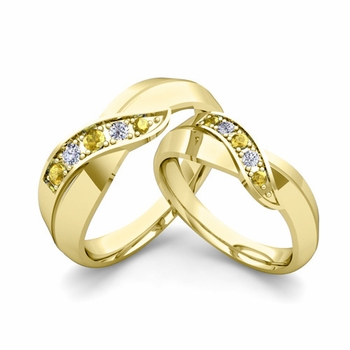 Matching Wedding Band in 18k Gold Infinity Diamond and Yellow Sapphire Wedding Rings