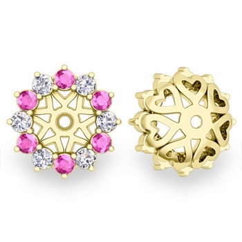 Pink Sapphire and Halo Diamond Earring Jackets in 18k Gold, 5mm