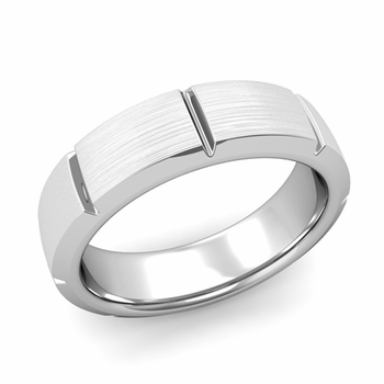 Swiss Cut Wedding Band in Platinum Brushed Finish Ring, 6mm
