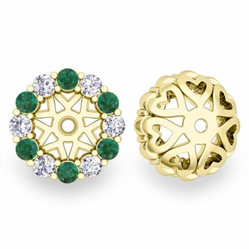 Halo Diamond and Emerald Earring Jackets in 18k Gold, 6mm