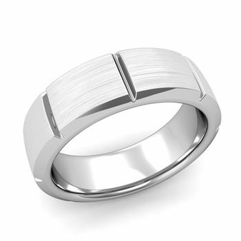 Swiss Cut Wedding Band in Platinum Brushed Finish Ring, 7mm