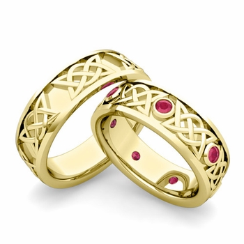 Matching Celtic Wedding Bands in 18k Gold Ruby Comfort Fit Ring