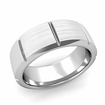 Swiss Cut Wedding Band in Platinum Brushed Finish Ring, 8mm