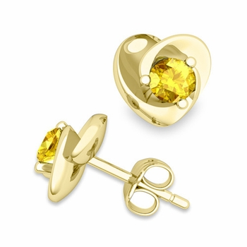 Petal Heart Yellow Sapphire Stud Earrings in 18k Gold, 4x4mm