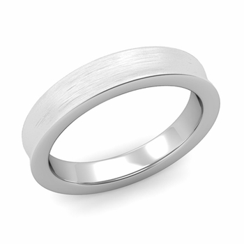 Contour Wedding Band in Platinum Brushed Comfort Fit Ring, 4mm