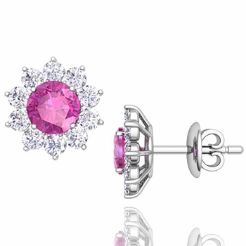 Pink Sapphire and Diamond Halo Earrings in 14k Gold Studs, 5mm
