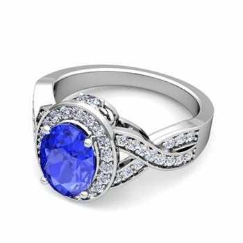 Infinity Diamond and Ceylon Sapphire Engagement Ring in 14k Gold, 7x5mm