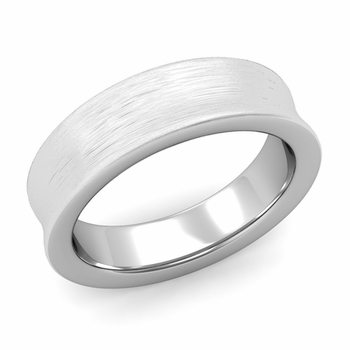 Contour Wedding Band in Platinum Brushed Comfort Fit Ring, 6mm