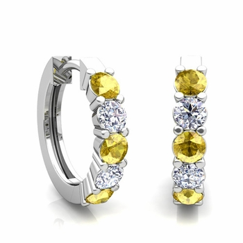 5 Stone Yellow Sapphire and Diamond Hoop Earrings in 14k Gold Hoops