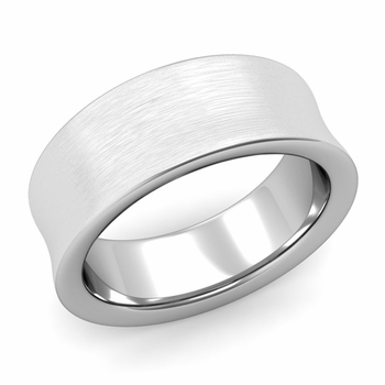 Contour Wedding Band in Platinum Brushed Comfort Fit Ring, 8mm