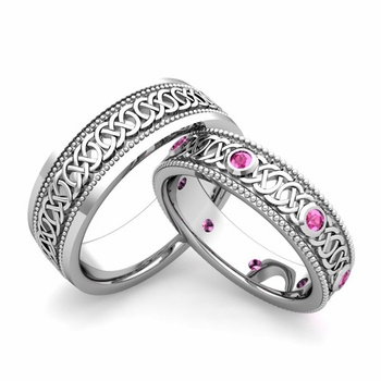 Matching Celtic Wedding Bands in 14k Gold Milgrain Pink Sapphire Ring