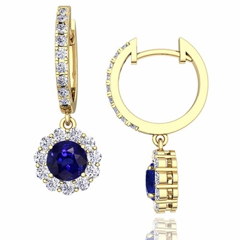 Halo Diamond and Sapphire Hoop Earrings in 18k Gold, 5mm