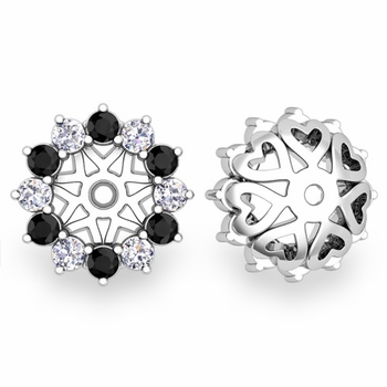 Black and White Halo Diamond Earring Jackets in 14k Gold, 5mm