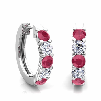 5 Stone Ruby and Diamond Hoop Earrings in 14k Gold Hoops