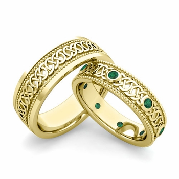 Matching Celtic Wedding Bands in 18k Gold Milgrain Emerald Ring