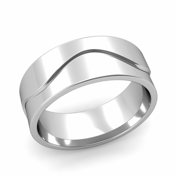 Wave Wedding Band in Platinum Comfort Fit Ring, Polished Finish, 8mm
