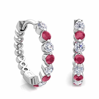 Floating Ruby and Diamond Hoop Earrings in 14k Gold Hoops