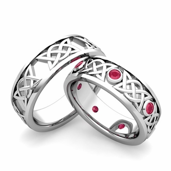 Matching Celtic Wedding Bands in Platinum Ruby Comfort Fit Ring