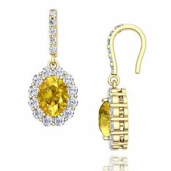 Halo Diamond and Yellow Sapphire Drop Earrings in 18k Gold, 7x5mm