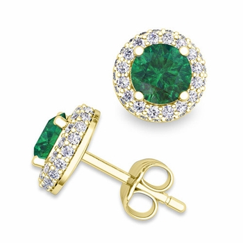 Pave Diamond and Emerald Earrings in 18k Gold Studs, 5mm