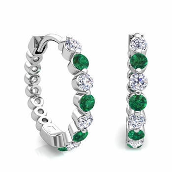 Floating Emerald and Diamond Hoop Earrings in 14k Gold Hoops