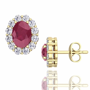 Oval Ruby and Halo Diamond Earrings in 18k Gold, 7x5mm Studs