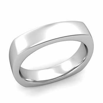 Square Comfort Fit Wedding Ring in Platinum Polished Band, 5mm