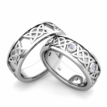 Matching Celtic Wedding Bands in 14k Gold Diamond Comfort Fit Ring