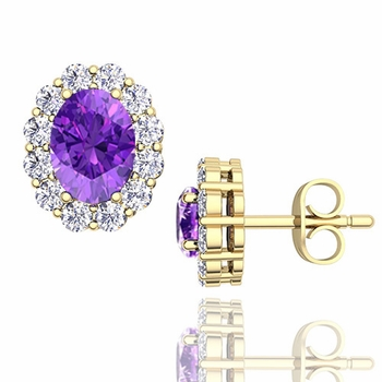 Oval Amethyst and Halo Diamond Earrings in 18k Gold, 7x5mm Studs