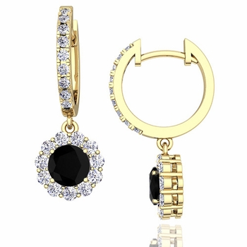 Halo Black and White Diamond Hoop Earrings in 18k Gold, 5mm