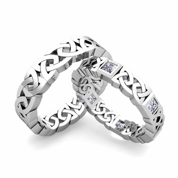 Matching Celtic Wedding Bands in Platinum Princess Cut Diamond Eternity Ring
