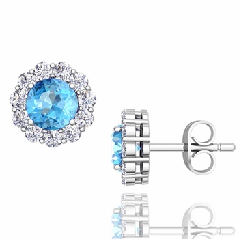 Halo Diamond and Blue Topaz Earrings in 14k Gold Studs, 5mm