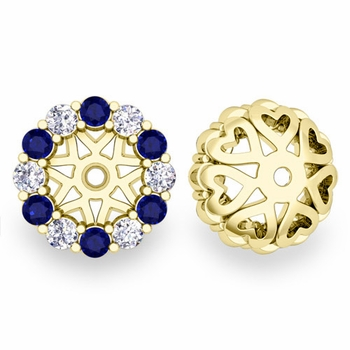 Halo Diamond and Sapphire Earring Jackets in 18k Gold, 6mm