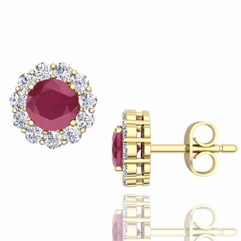 Halo Diamond and Ruby Earrings in 18k Gold Studs, 5mm