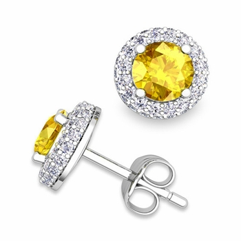 Pave Diamond and Yellow Sapphire Earrings in 14k Gold Studs, 5mm