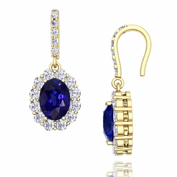 Halo Diamond and Sapphire Drop Earrings in 18k Gold, 7x5mm