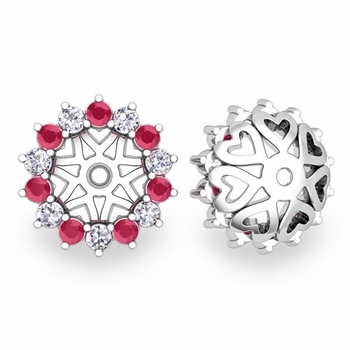 Ruby and Halo Diamond Earring Jackets in 14k Gold, 6mm