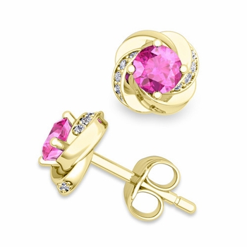 Petal Diamond and Pink Sapphire Stud Earrings in 18k Gold, 4x4mm