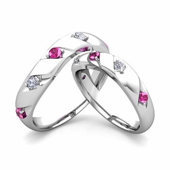 Matching Wedding Band in 14k Gold Curved Diamond Pink Sapphire Wedding Rings