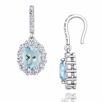 Halo Diamond and Aquamarine Drop Earrings in 14k Gold, 7x5mm
