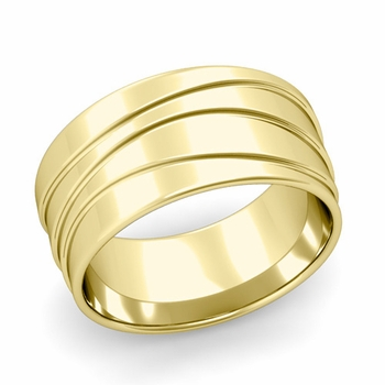 Wave Comfort Fit Wedding Ring in 18k Gold Polished Finish Band, 10mm