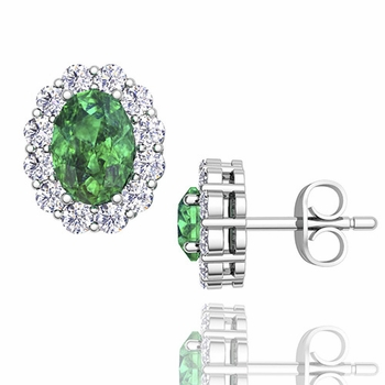 Oval Emerald and Halo Diamond Earrings in 14k Gold, 7x5mm Studs