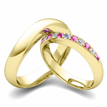 Matching Wedding Band in 18k Gold Curved Diamond and Pink Sapphire Ring